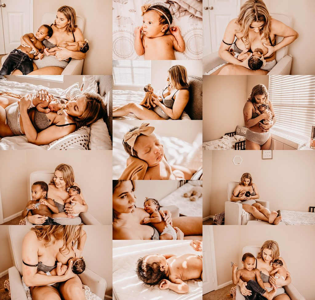 images of motherhood and mom with new baby breastfeeding